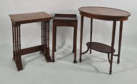 19th century oval two-tier centre tablewith shell motif inlay to the centre, dished top, on
