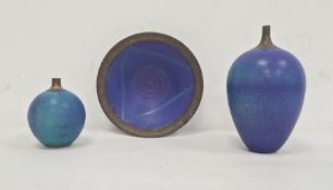 Simon Rich three studio pottery raku fired pieces including two vases, 19cm and 10cm high approx and