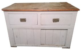 Vintage pine-topped dresser base with two painted drawers above two sliding doors, 124cm wide x 81cm