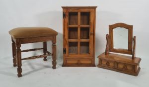 Oak stool, a modern pine dressing table mirrorand a wall-hanging pine cabinetwith glazed door