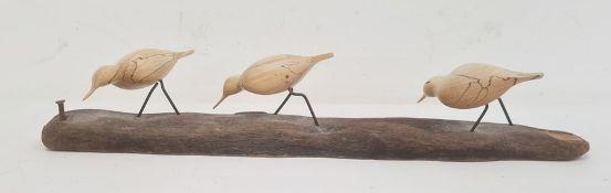 Bruno Charron spalted beech and driftwood three bird sculpture, 56cm wide