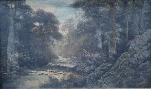 Possibly 19th century, oil on panel, river though woodland, indistinctlysigned lower left, together