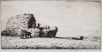 """After Stanley Anderson (1884-1966) Etching """"Stacking Oats, Sussex"""", signed in pencil and with"""