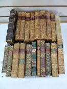 Fine bindings, mainly a mixture of full leather, half leather, marbled boards and a bible with