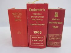 Kelly's Handbook1967, Who's Whofor 1959, Debrett's Peerage1965, Who's Who1937 and Burke's Landed
