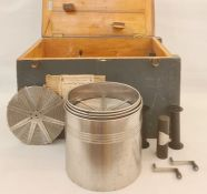 Harringay Photographic and Electrical Supplies Ltd portable developing tankin pine case, stamped '