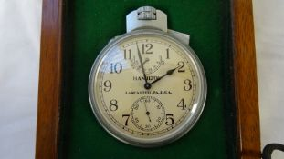 Hamilton, Lancaster, Pa., U.S.A. military chronometer model 22, 21 Jewels, marked to back H.s.(Up