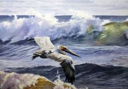 """Matthew Hillier (20th century) Oil on board """"Pelican Flying Over an Ocean"""", signed and dated lower"""