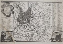 Giovanni Brun Copper engraving of the famous plan of Rome engraved in 1551 byLeonardo Bufalini,