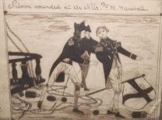 19th century ink drawing inscribed 'Nelson wounded at the Nile by M. Marshall' amateurdrawn, 10cm x