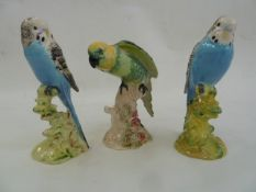 Two Beswick model budgies, 1216 and 1217 in blue and a parrot930 in yellow and green (3) Part of