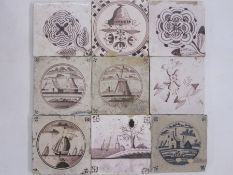 25 x 18th century hand painted Delft tilesto include buildings, windmill, boughpots, stylised