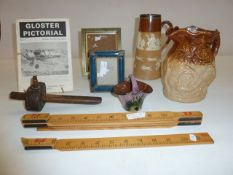 Doulton Lambeth stoneware jug with silver mounted rim, a Doultonware jug, picture frames, wood