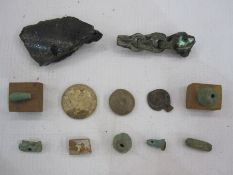 Collection of Egyptian amulets, faience and others, a wooden scarab beetle carved lid and five