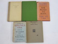 """Sassoon, Siegfried """"The Road to Ruin"""", Faber & Faber 1933, red cloth rather stained and slightly"""