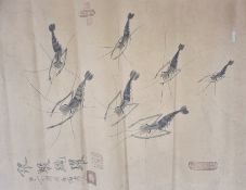 Three original19th Century Chinese hand-paintedpicturesdepicting shrimp, signed and stamped by