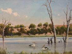 20th century school Oil on canvas Two pelicans on a river, signed indistinctly lower left, 45cm x