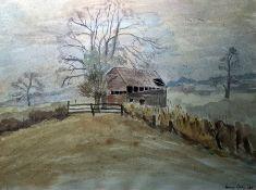 Diana Corbett (20th century school) Watercolour Derelict barn in countryside, signed lower right