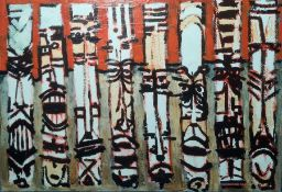 20th century school Mixed media on board Abstract, in orange, black and white, marked verso '