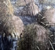 """Judith Belzer Oil on canvas """"Marsh Stumps"""", unsigned, marked verso, 177.5cm x 164cm, Christies lot"""