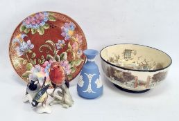 A Goebel model of a robin, a bluetit and other birds, a Wedgwood blue lustreware miniature vase, a