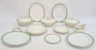 H&K Tunstall part dinner service with gilt highlights and green border, no.2027 to base