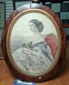 Victorian coloured mezzotint of a seated lady with flowers in her hair and on her dress, oval, in
