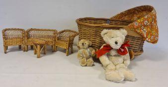 LOT WITHDRAWN Late 1960/70's David Lethbridge light wood and basketweave rocking crib with orange
