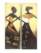 Pair of modern painted plaster on canvasof abstract figures with stylised border, 80cm x 30cm and a