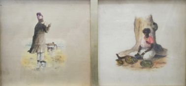 19th century Asian school Set of four watercolours (framed as two) Portrait studies of Indian