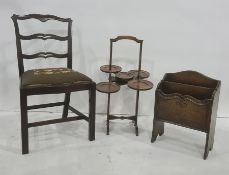 Single chairwith needlework upholstered seat, a three-tier folding cakestandand a magazine rack(