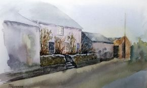 John Leadbeater Watercolour English country cottage, signed lower left, 18cm x 29cm After