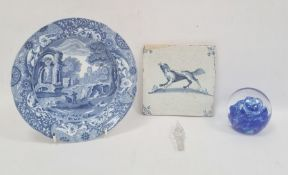 Copeland Spode 'Italian' pattern bowl, a glass paperweight and a delft blue and white tile decorated