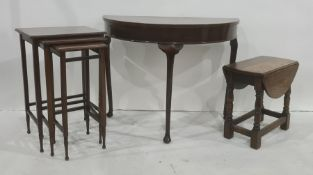 20th century D-end mahogany hall table, a nest of three tablesand a coffee table(3)
