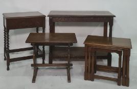 Nest of three tables, a coffee table, an oak canteenand a two-tier rectangular side table(4)