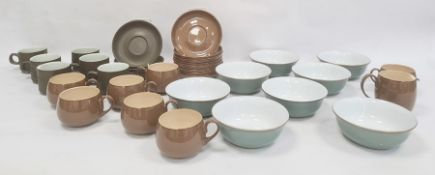 Seven Denby cups and saucers and matching jug in brown, five Denby cups and saucers and matching jug