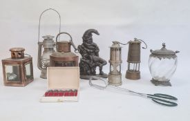 Copper ship's port light, quadrant-shaped, various miner's and other lamps, Mr Punch cast iron
