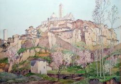 Freda Marston (1895-1949) Watercolour Continental hillside town with abbey, signed lower left,