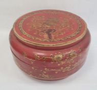 Chinese lacquered wood dowry box and cover, circular, red ground with peacock and flowering branch