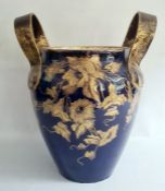Large 19th century Choisy-le-Roi pottery two-handled vase, having everted rim, shouldered and