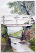 """Rowland Thomasson (early 20th century school) Watercolour """"The Bridge"""", signed and dated 1923 lower"""