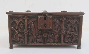 Adolph Frankau & Co gothic-style metal trinket boxwith panels of medieval figures, in the form of a