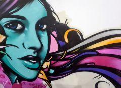 Siloe (urban artist) Spray paint on canvas Female head, signed, unframed, 183cm x 243.5cm