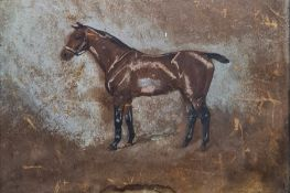 Early 20th century school Watercolour and pastel Study of a racing horse, initialled lower left '