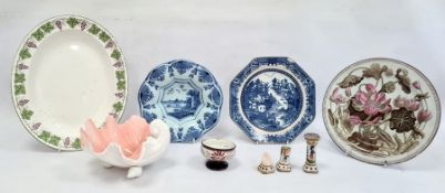 Delft shallow dishpainted with riverside building, pair Quimper pottery knife rests(damaged),