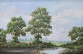 Quantity of pictures and printsto include 20th century oil on canvas, river scene (9)