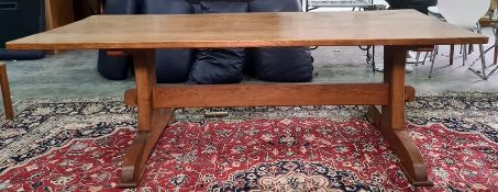 20th century oak dining tablewith rectangular top, on trestle-style base, top 214.5cm x 97.5cm