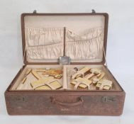 1930's American fitted leather travelling case with watered silk lining and pin tray fitted with