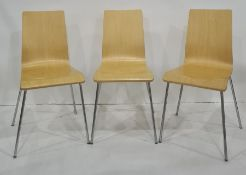 Set of four modern plywood chairson chrome bases (4)