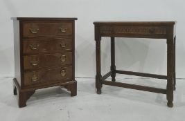 20th century mahogany chestof four drawers, on bracket feet and an oak single drawer side table(2)
